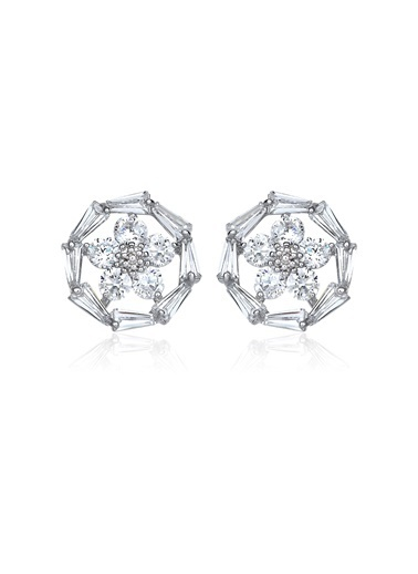 2,50 Ct Pırlanta Efekt Altın Daisy Trapes Küpe-Tophills Diamond Co.